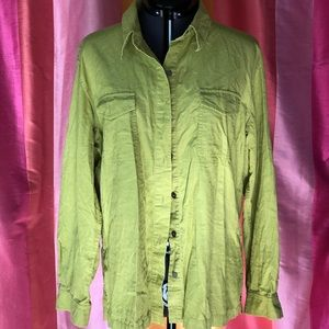 Chico's Green Long Sleeve Cotton Top